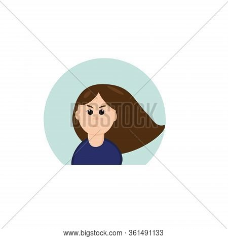 Girl With Emotion Grief In A Flat Style. Vector Graphic. Element For Design Sticker, Icon, Poster, C
