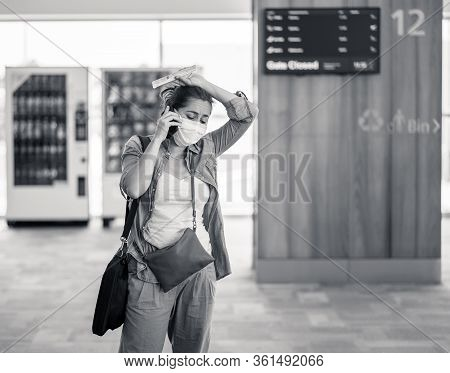 Adelaide,australia-march 15, 2020. Coronavirus Outbreak Travel Restrictions. Traveler With Mask At A