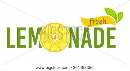 Lemonade Fresh Beverage Made Of Lemons Emblem Vector