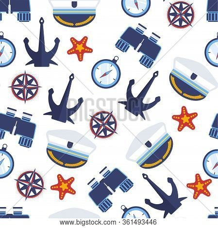 Marine Symbols, Nautical Anchor And Captain Hat Seamless Pattern