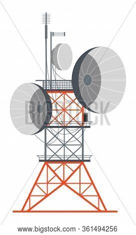 Tower With Wires, Power Station Or Telecommunication Receiver