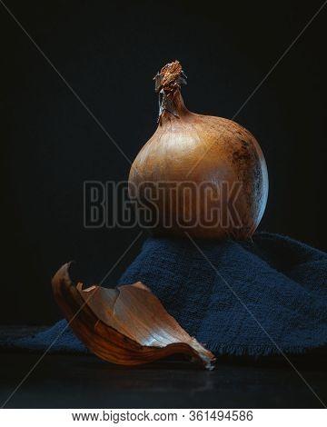 Majestic Onion Still Life On Dark Background