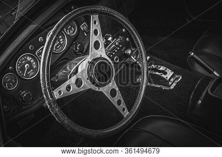 Vintage Old Sport Car Interior Black And White