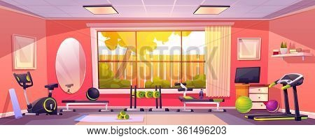 Gym At Home, Empty Room With Sports Fitness Equipment. Domestic Interior With Treadmill, Bench, Barb