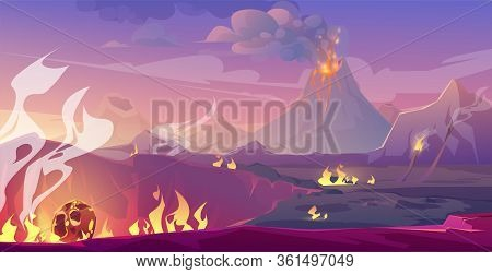 Jurassic Period Landscape With Erupted Volcano And Fallen Meteor. Vector Cartoon Illustration Of Pre