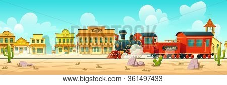 Steam Train In Western Town. Wild West Desert Landscape With Cactuses, Railroad And Old Wooden Build