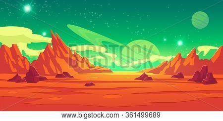 Mars Landscape, Alien Planet Background, Red Desert Surface With Mountains, Craters, Saturn And Star