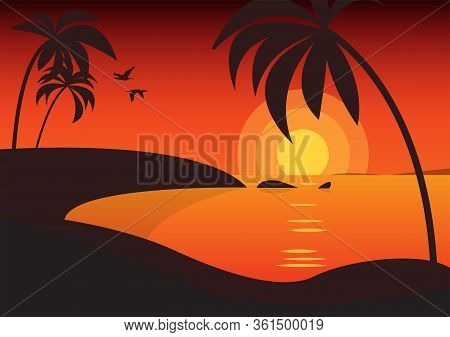 Palm Trees Silhouettes Background. Tropical Nature In Sunset. Nature Background. Vintage Red Sunset