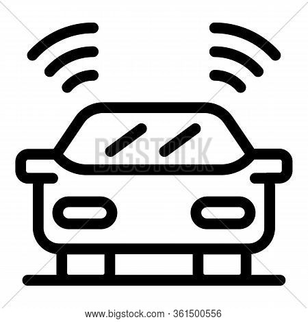 Car Driving Assistant Icon. Outline Car Driving Assistant Vector Icon For Web Design Isolated On Whi