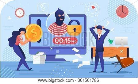 Cyber Attack Crime. Cryptocurrency Stealing Riskiness. Mining Virus. Hacker Burglar Avatar On Comput