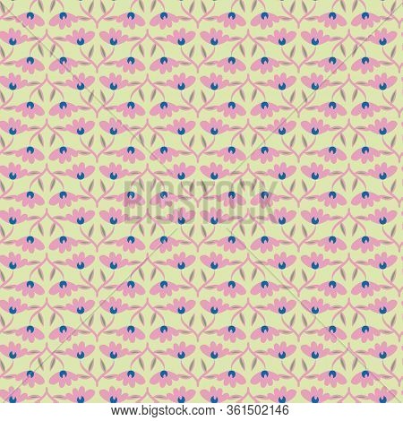 Pink Flowers Ornament Seamless Vector Pattern On Green Background. Girly Springtime Surface Print De