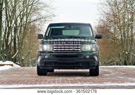 Grodno, Belarus, December 2012: Land Rover Range Rover Sport V8 Supercharged. Front View Of Black Su