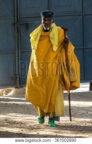 Aksum, Ethiopia - Feb 09, 2020: Orthodox Pilgrim At Church In The Northern Stela Park Of Aksum, Famo
