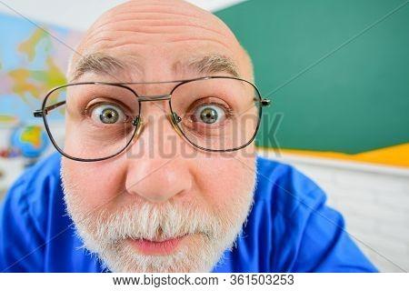 Class Teacher. Handsome Male School Teacher In Classroom. Portrait Of Funny Male Professor. Educatio