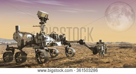 Mars Rover With A Beautiful Planet In The Background, Exploration Of Mars. Elements Of This Image Fu