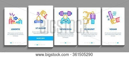 Bullying Aggression Onboarding Mobile App Page Screen Vector. Internet Bullying And Name-calling, Be