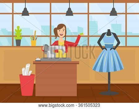 Female Tailor Character Sewing Dress On Dressmakers Dummy, Creative People Profession Or Hobby Vecto