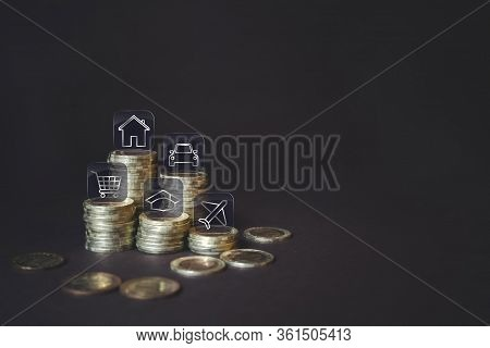 Coins Stack With Various Icons For Financial Savings Or Spending As Background. Coins Stack, Various