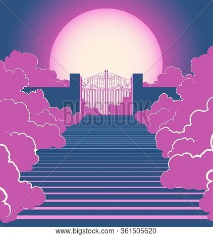 A Vector Illustration Concept Depicting Majestic Pearly Of Heaven Surrounded By Clouds And The Stair