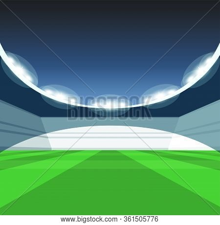 A Vector Illustration Of A Generic Seated Stadium With A Green Grass Pitch At Night Under Illuminate