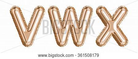Gold Foil Balloon Alphabet Set Letter V, W, X Realistic 3D Illustration Metallic Pink Gold Air Ballo