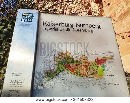 Nuremberg, Germany - January 01, 2020: Sign Illustrating The Ground Around The Imperial Castle Nurem