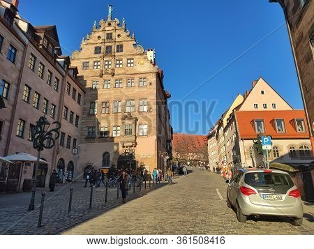 Nuremberg, Germany - January 01, 2020: View From Kaiserburg Fortress, Or Nuremberg Castle, In The Ci