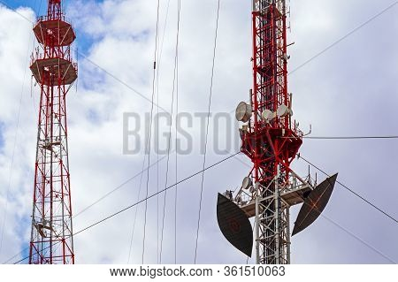 Broadcasting Towers For Transmitting Radio And Television With A Large Number Of Installed Antennas.