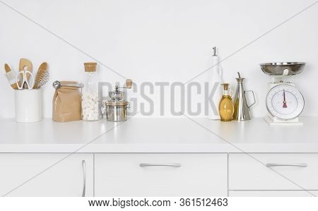 Modern Simple Kitchen Counter Interior With Kitchenware On White Background