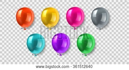 Vector Balloon Set. Vector Illustration Of Shiny Colorful Glossy Balloons. Realistic Air 3d Balloons