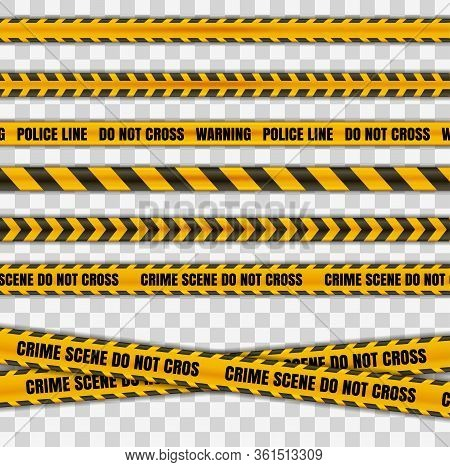 Police Tape Warning Danger Set Isolated In Transparent Background. Barricade Tape, Do Not Cross, Pol