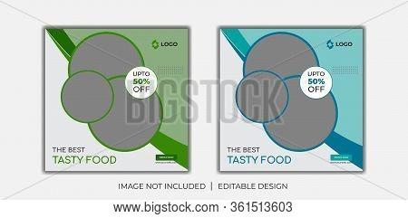 Food social media web banner design template, Food Social media and web square banner design template . Delicious Food Social media post Design template for vector illustration Eps 10.