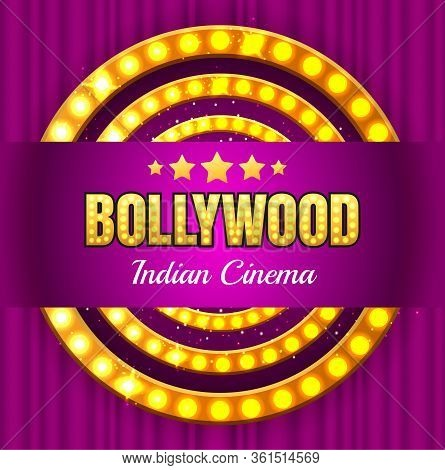India Bollywood Cinema Element Poster. Vintage Indian Classic Movie Vector Background With Purple Sh