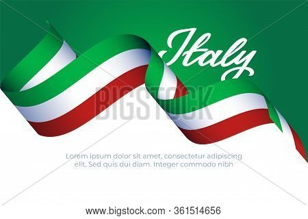 Italy Patriotic Concept With Italian Flag Color Ribbon, Hand Drawn Font I Love And Calligraphy For T