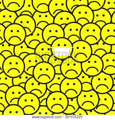 Seamless Pattern With Sad Face Icons. Unhappy Faces Background. Flat Style. Vector Illustration.