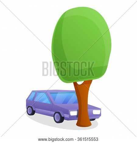 Car Hit Tree Accident Icon. Cartoon Of Car Hit Tree Accident Vector Icon For Web Design Isolated On