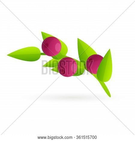 Garden Berry Icon. Cartoon Of Garden Berry Vector Icon For Web Design Isolated On White Background