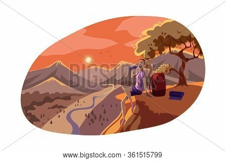 Travelling, Tourism, Rest, Nature, Hiking Concept. Young Woman Hiker Tourist Backpacker Sitting On H