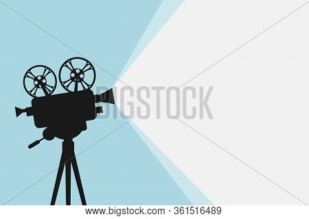 Silhouette Of Vintage Cinema Projector On A Tripod. Cinema Background. Movie Festival Template For B