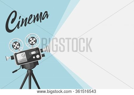 Detailed Retro Movie Projector With Film Reels. Cinema Background. Film Festival Template For Banner