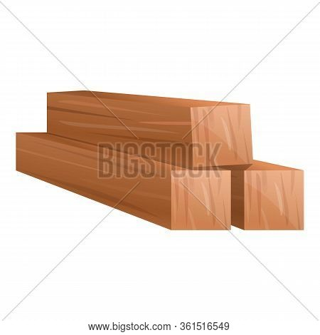 Wood Bars Icon. Cartoon Of Wood Bars Vector Icon For Web Design Isolated On White Background