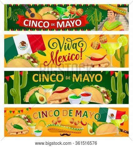 Cinco De Mayo Holiday And Viva Mexico Vector Banners Of Mexican Fiesta Party Sombrero Hats, Maracas,