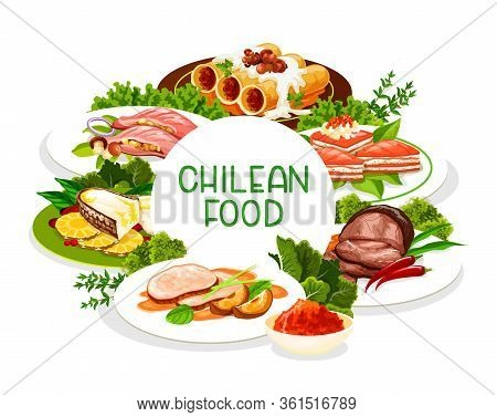 Chilean Cuisine, Vector Menu Cover, Traditional Latin South America Food Dishes. Chilean Restaurant