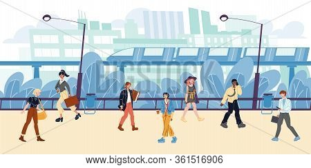 Cityscape, Buildings, Apartment Houses, Train, Metro, Trees, Street Lamps, Walking People. Men, Wome
