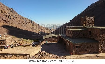 Imlil/morocco - 09.30.2019: Refuge Toubkal Les Mouflons The Starting Point For The Highest Peak In A