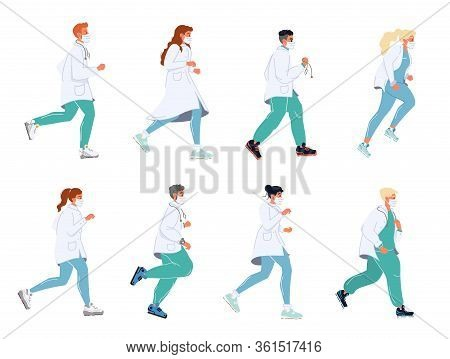 Doctor Running In Masks Uniform Stethoscope Set. Clinic Healthcare, Urgency Medicine, Emergency Help