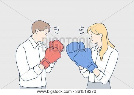Business Competition, Boxing, Challenge, Fighting, Rivalry Concept. Young Businesspeople Businessman