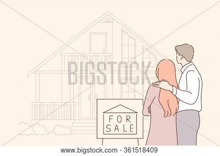 Buy, Sale, House, Real Estate, Family Concept. Young Sad Couple In Love, Husband And Wife Characters