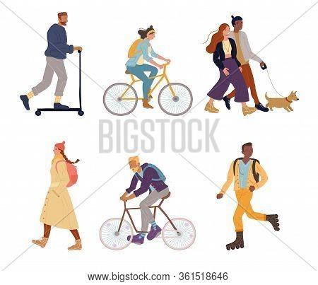 Bundle Of Active Sportive People. Man Woman Walking, Airing Dog On Leash, Riding Bicycle, Push Kick