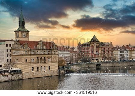 Prague, Czech Republic - December 2019: Hradcany Is The Praha Castle With Hurches, Chapels, Halls An